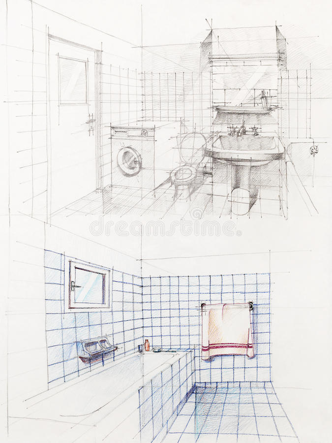 Prospettiva abbozzata della stanza da bagno dell'appartamento immagine stock libera da diritti