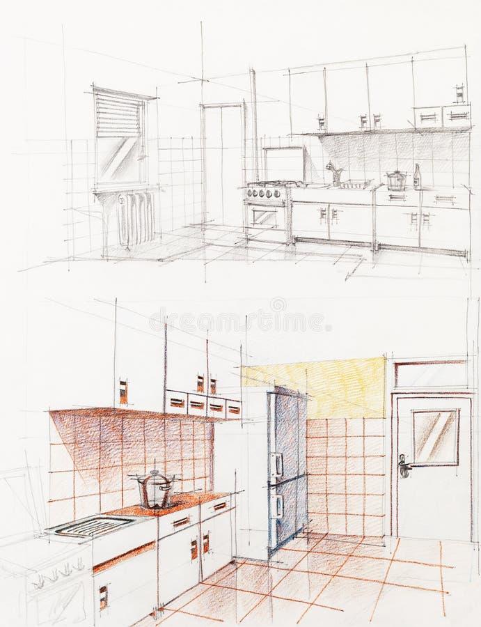 Prospettiva abbozzata interna della cucina dell'appartamento immagine stock
