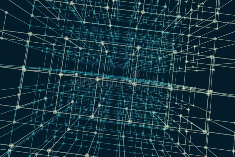 Prospettiva cubica con flusso di dati di codice binario Fondo urbano digitale astratto illustrazione vettoriale