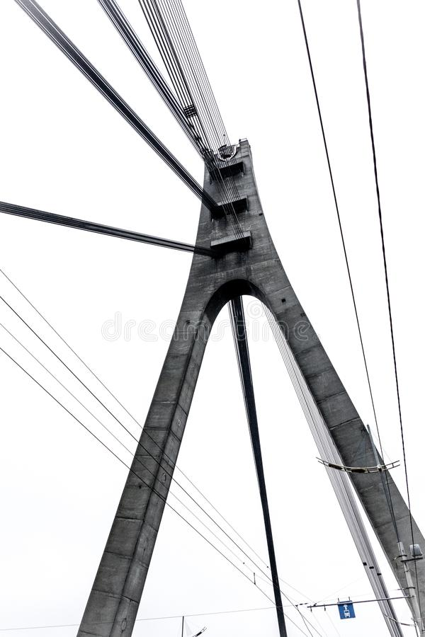 Prospettiva del ponte di Moskovskyi Mosca, Kiev, Ucraina fotografia stock libera da diritti