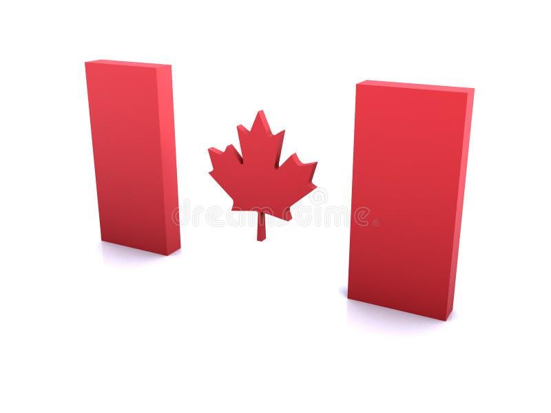 Prospettiva della bandiera 3D del Canada illustrazione di stock