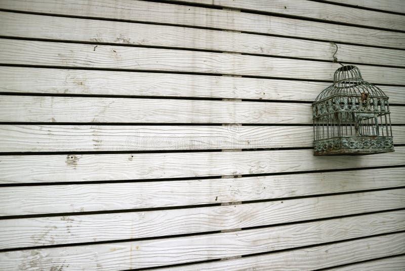 Prospettiva di diminuzione di vecchia parete di legno colorata bianca della plancia con una gabbia per uccelli vuota immagine stock libera da diritti