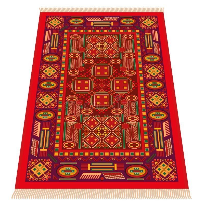 Prospettiva di Orientale del tappeto rosso illustrazione vettoriale