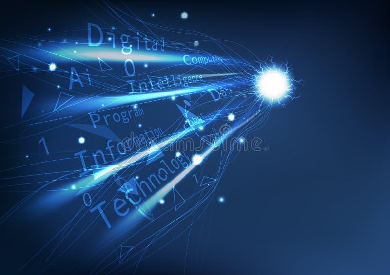Prospettiva di tecnologia digitale, linee palmate di moto della curva di elettricità della connessione di rete con il fondo astra illustrazione di stock