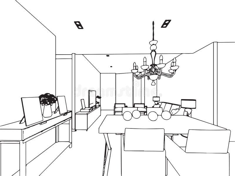 Prospettiva interna del disegno di schizzo del profilo for Disegno di piano domestico
