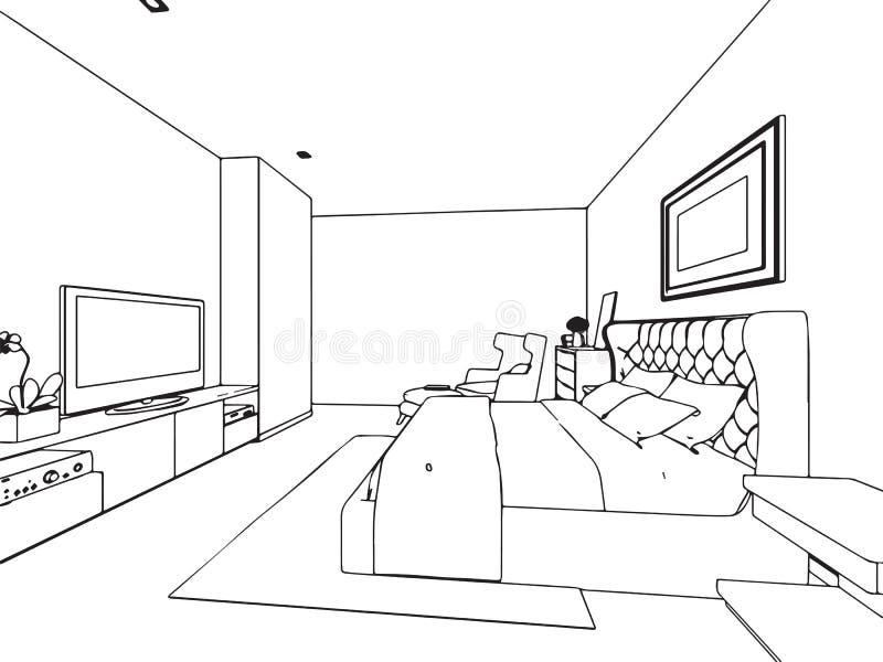 Prospettiva interna del disegno di schizzo del profilo for Disegni della casa della cabina di ceppo