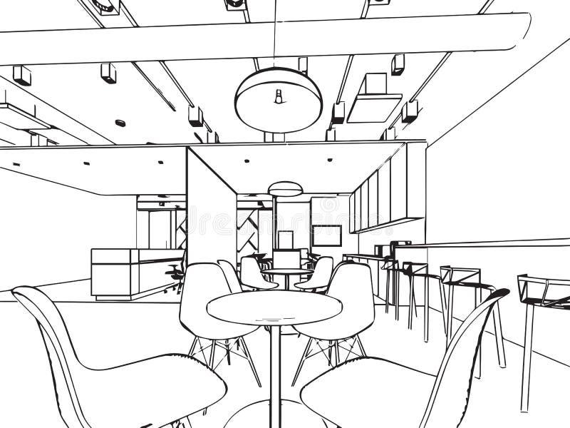 Prospettiva interna del disegno di schizzo del profilo di un ufficio dello spazio illustrazione vettoriale