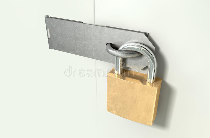 Prospettiva Locked del Hasp e del lucchetto fotografia stock libera da diritti