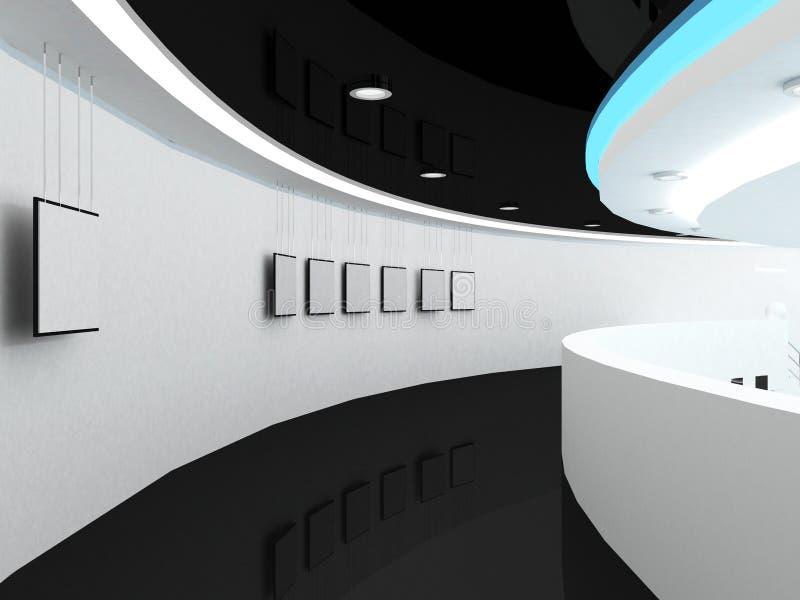 Prospettiva vuota dell'interiore dello spazio della galleria illustrazione di stock