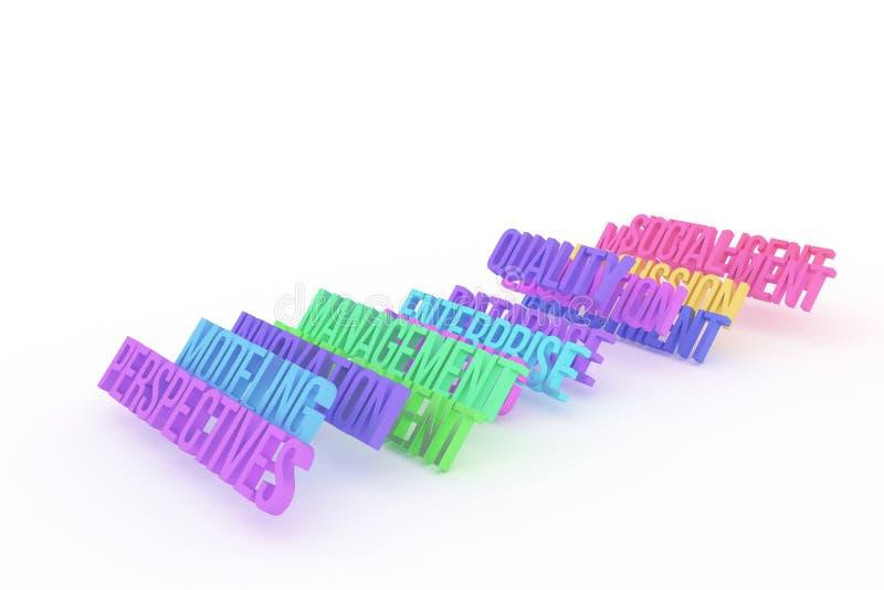 Prospettive & modellare, parole variopinte concettuali 3D di affari Progettazione, titolo, fondo & digitale illustrazione di stock