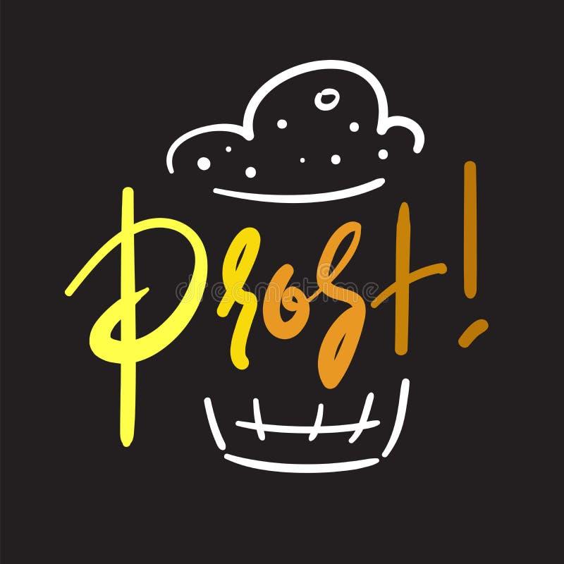 Prost! - simples inspire e citações inspiradores Caneca de cerveja Cópia para o cartaz inspirado, ilustração royalty free