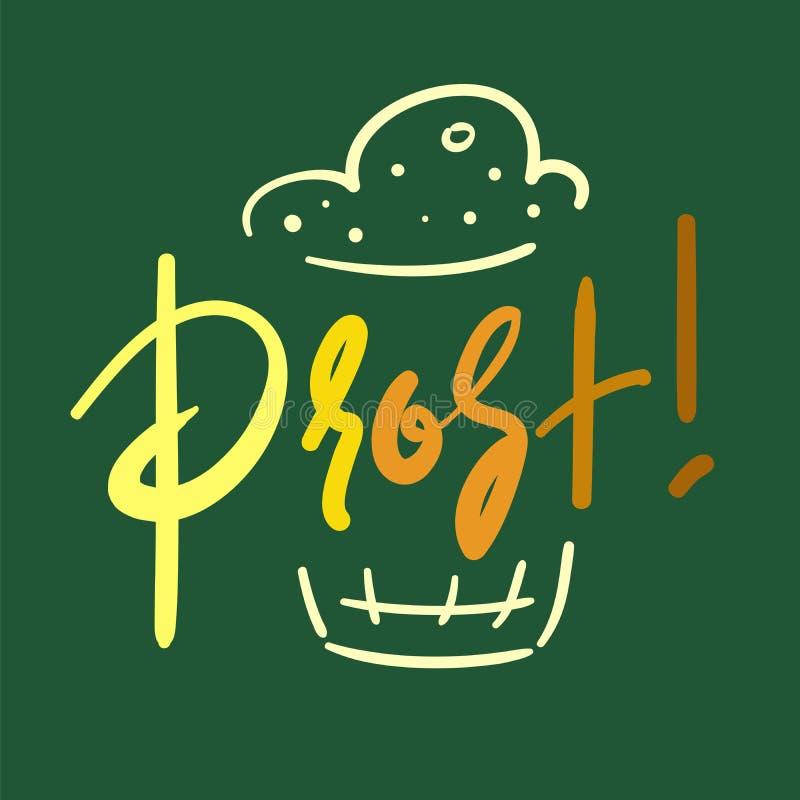Prost! - simples inspire e citações inspiradores Caneca de cerveja Imprima para o cartaz inspirado, t-shirt, saco, copos, cartão, ilustração royalty free