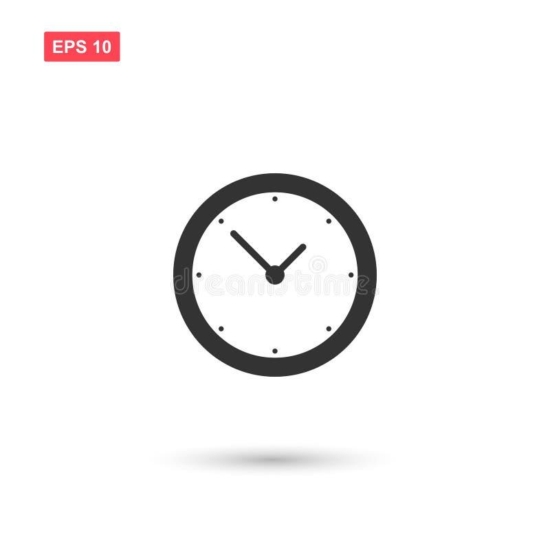 Prosta ściennego zegaru wektorowa ikona odizolowywał 1 ilustracja wektor