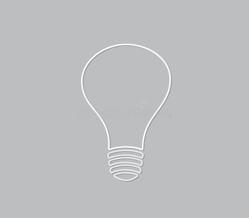 Prosta światło białe żarówka na szarość tapetuje dla nowatorskiego pomysłu i brainstorming ilustracja wektor