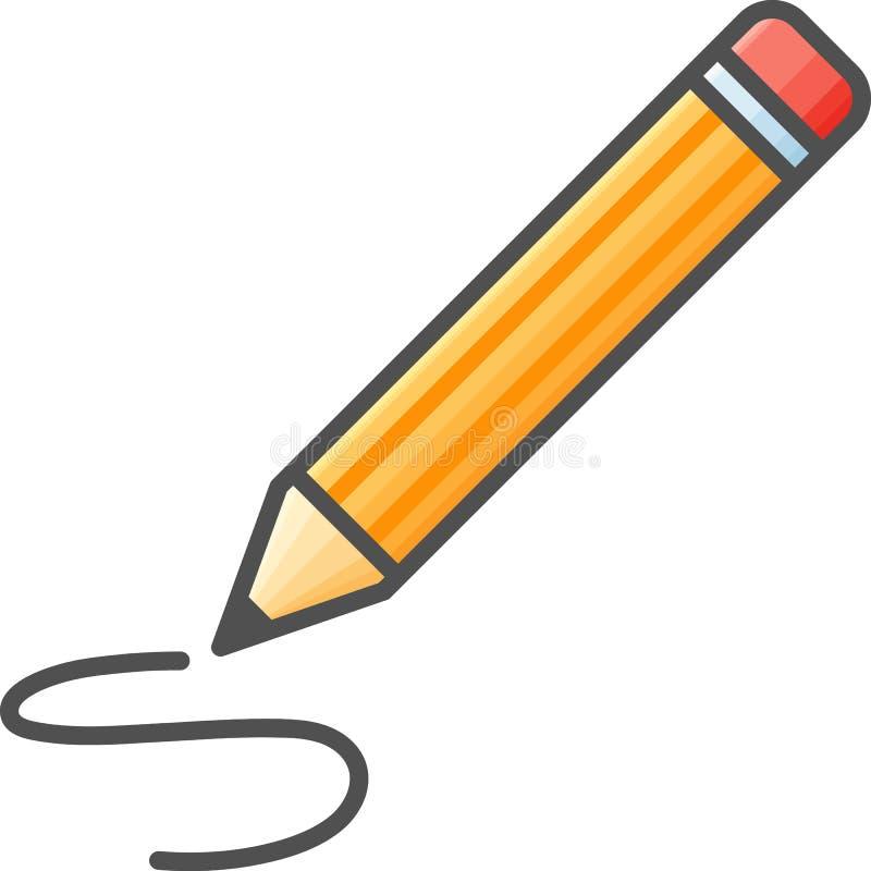 Prosta artystyczna i hobby Wektorowa Flatikona Klasyczny ołówek dla rysować Mieszkanie stylowa ikona 48x48 piksel Perfect royalty ilustracja