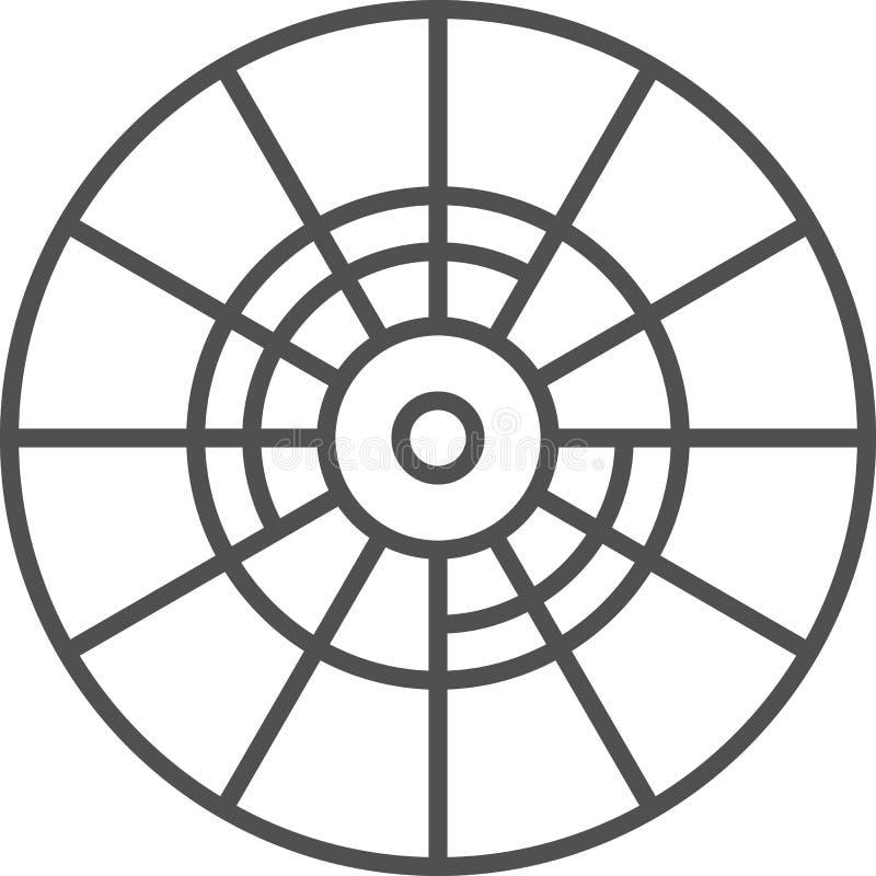 Prosta artystyczna i hobby wektoru linii artikona Koloru koło dla podnosić kolory Kreskowej sztuki stylu ikona 48x48 piksel Per ilustracja wektor