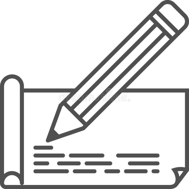 Prosta artystyczna i hobby wektoru linii artikona Rysunkowy papier z ołówkiem Kreskowej sztuki stylu ikona 48x48 piksel Perfect ilustracja wektor