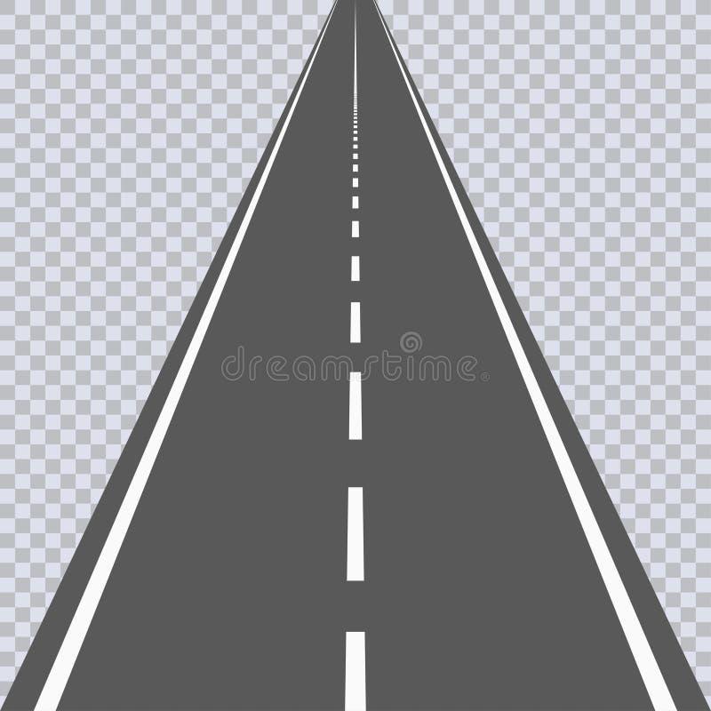 Prosta asfaltowa droga z białymi ocechowaniami autostrada wektor ilustracja wektor