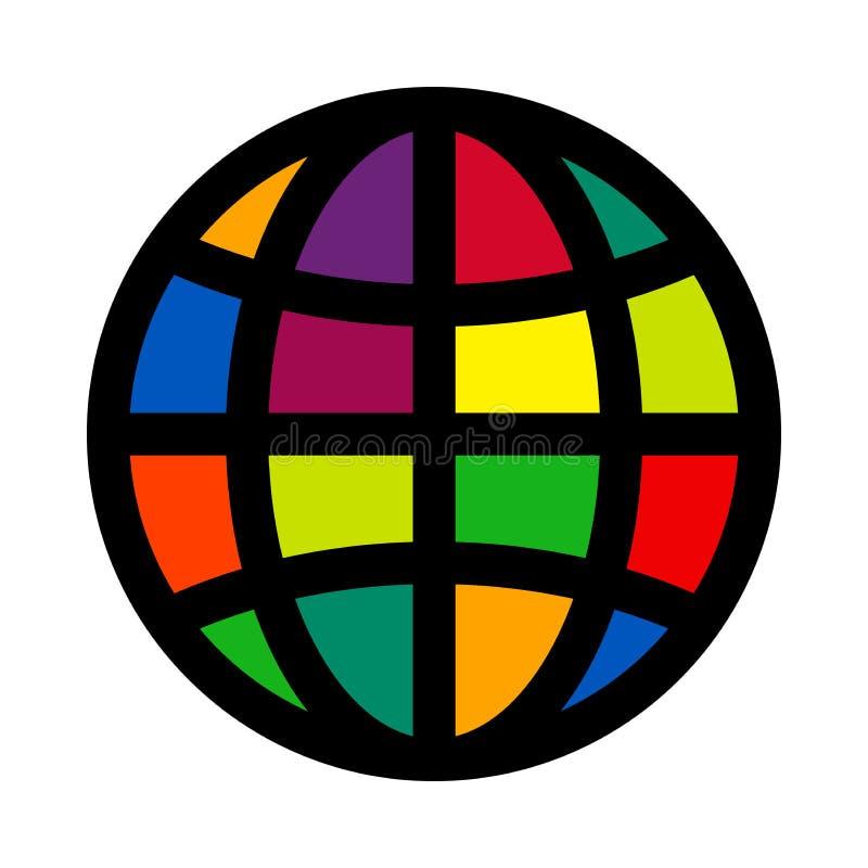 Prosta barwiona kuli ziemskiej ikona kuli ziemskiej loga wektoru sie? royalty ilustracja