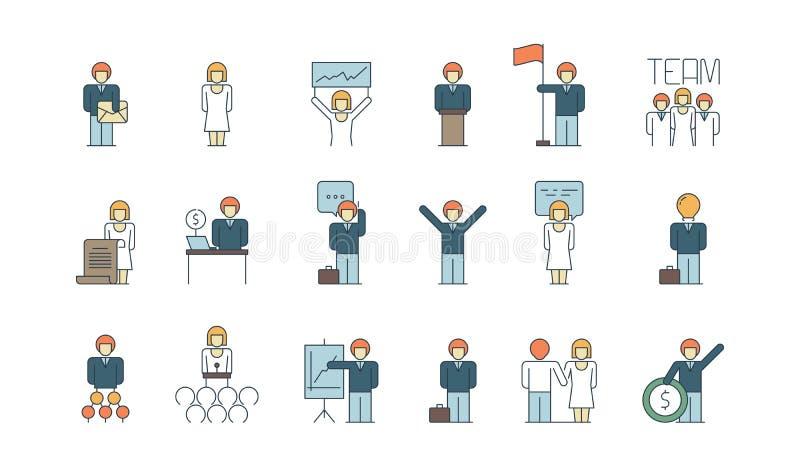 Prosta biznes drużyny ikona Ogólnospołeczna komunikacyjna spotkanie osoby lub grupy pracy dyskusji prezentacji cienka linia barwi ilustracja wektor