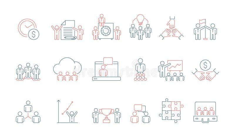 Prosta biznes drużyny ikona Ogólnospołeczna komunikacyjna spotkanie osoby lub grupy pracy dyskusji prezentacji cienka linia barwi ilustracji
