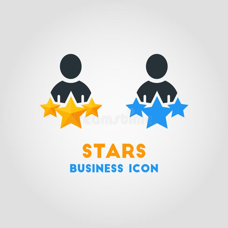 Prosta Biznesowa Wektorowa ikona 3 gwiazd mężczyzna Ulubiona biznesmena wektoru ilustracja ilustracja wektor