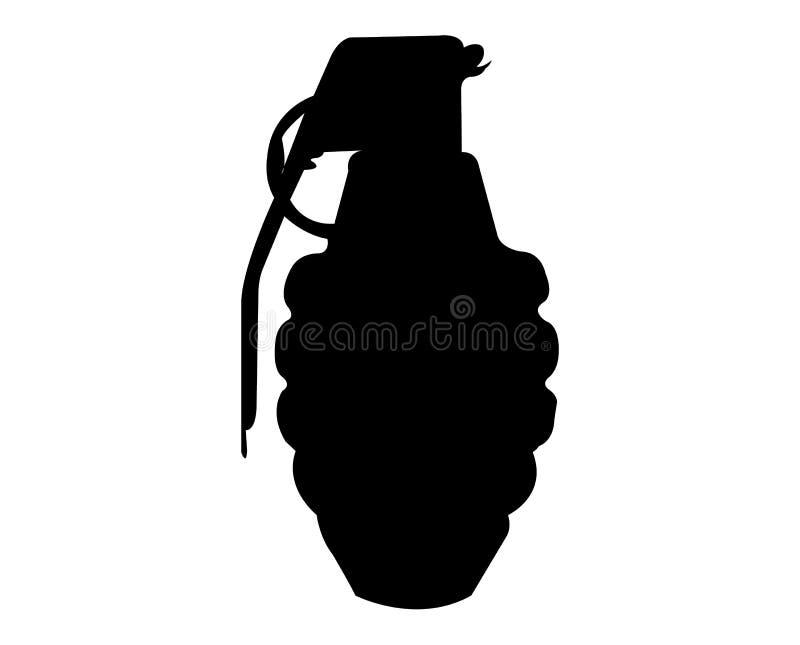Prosta, czarna granat ręczny sylwetka, royalty ilustracja