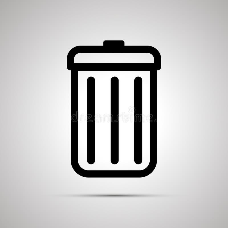 Prosta czarna ikona kubeł na śmieci na lekkim tle ilustracja wektor