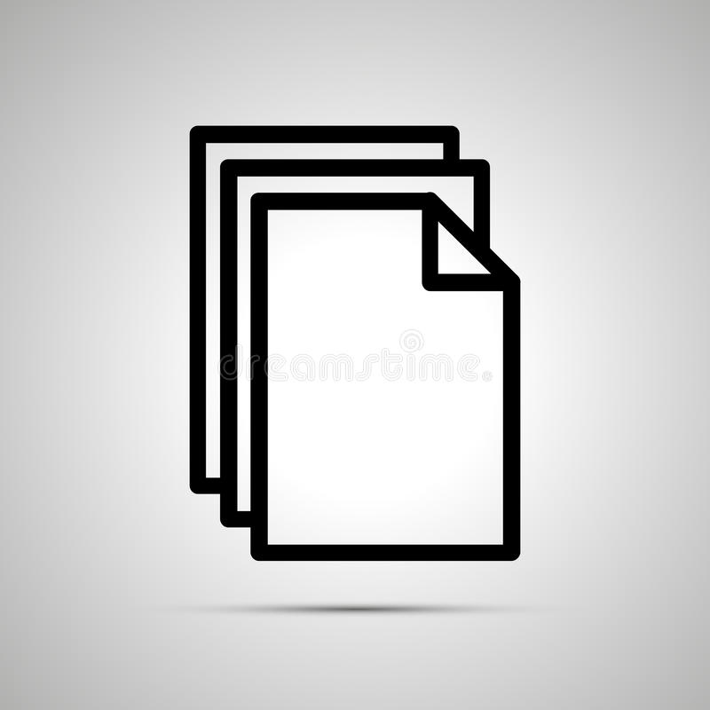 Prosta czarna ikona stosów dokumenty na lekkim tle royalty ilustracja