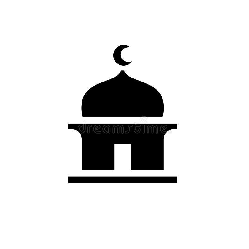 Prosta Czarna Meczetowa ikona, Islamska sylwetka, Wektorowy Ilustracyjny projekt royalty ilustracja