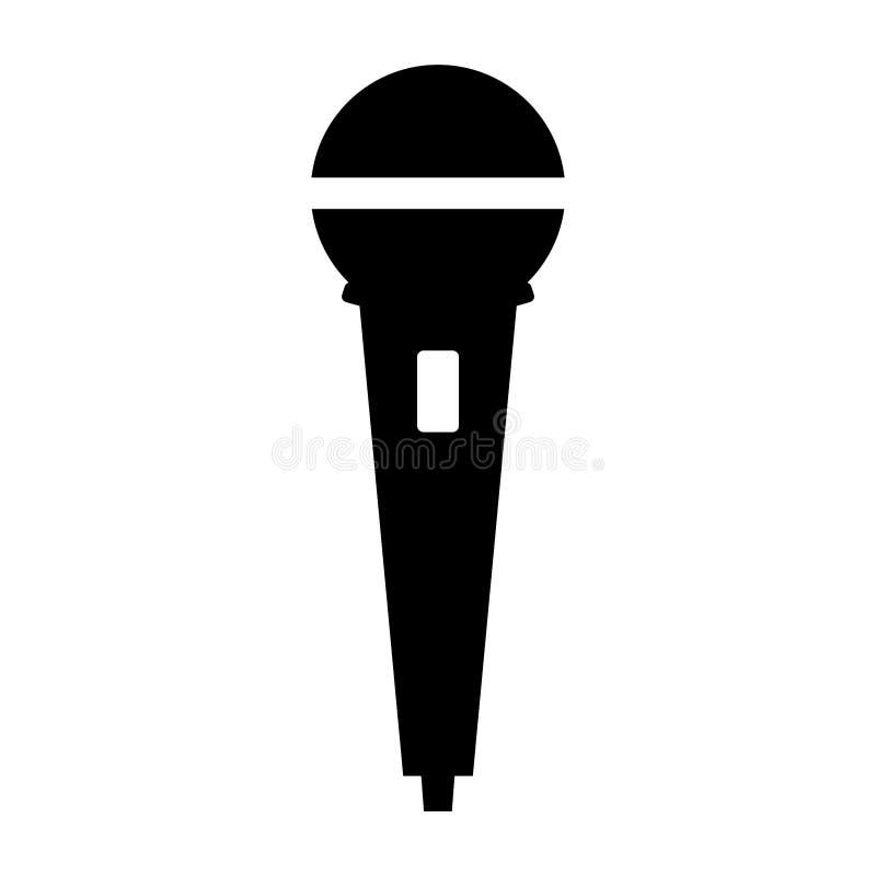 Prosta, czarny i biały mikrofon ikona, sylwetka/ Odizolowywający na bielu ilustracja wektor