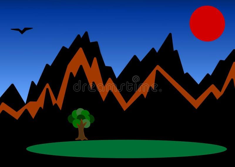 Prosta 2D ilustracja góra pod czerwoną księżyc royalty ilustracja