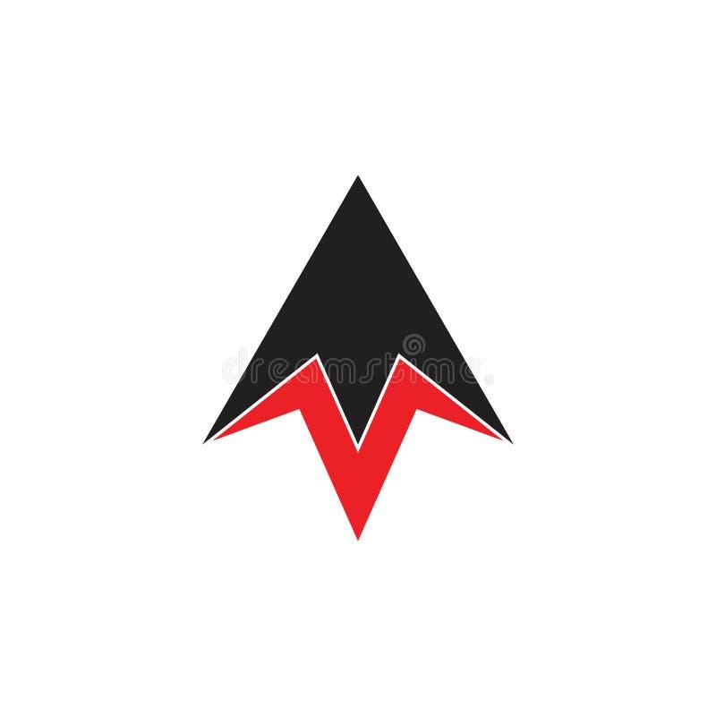 Prosta geometryczna strzała w górę rakietowego logo wektoru royalty ilustracja