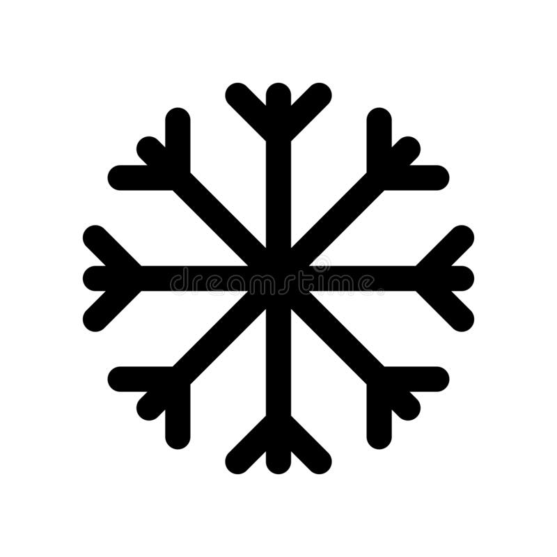 Prosta graficzna czarna płaska wektorowa płatek śniegu ikona odizolowywająca; elemen royalty ilustracja