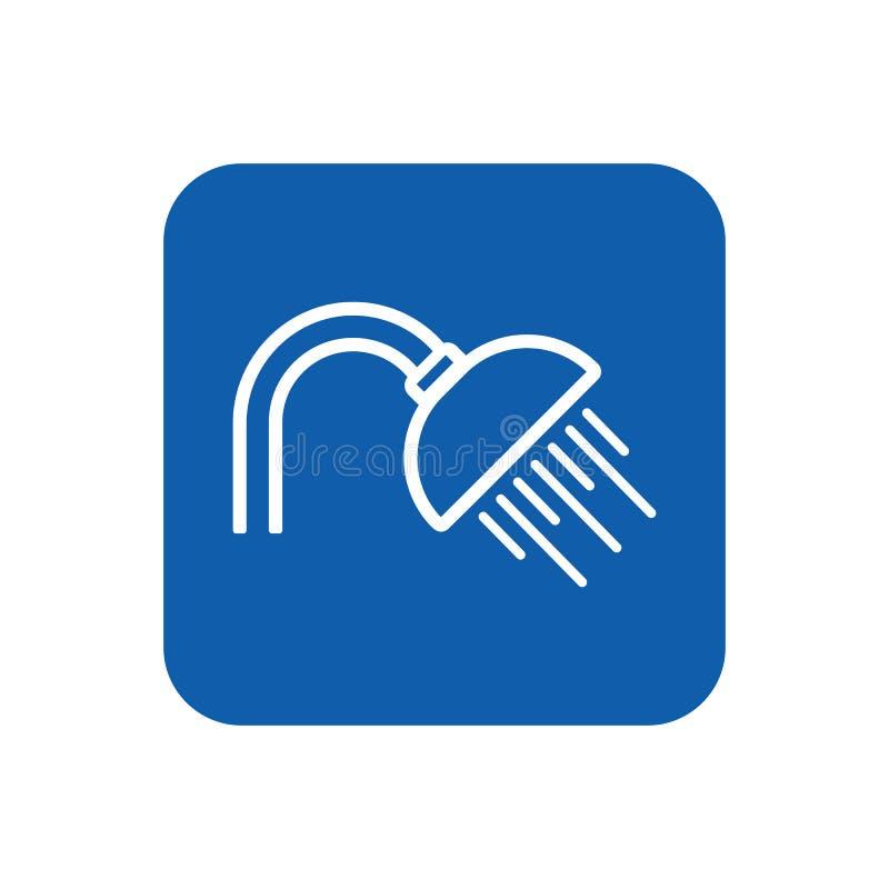 Prosta graficzna wektorowa płaska kontur prysznic ikona; prysznic informati royalty ilustracja