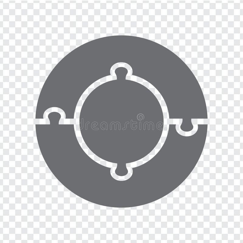 Prosta ikona okręgu łamigłówka w szarość Prosta ikona okręgu łamigłówka thee elementy na przejrzystym tle royalty ilustracja
