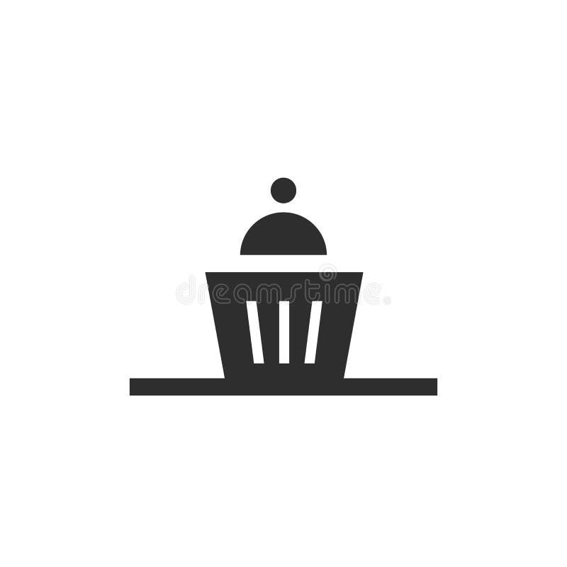 Prosta ikona słodka bułeczka dla klasycznego kawowego czasu Czarny i bia?y piktogram ilustracji