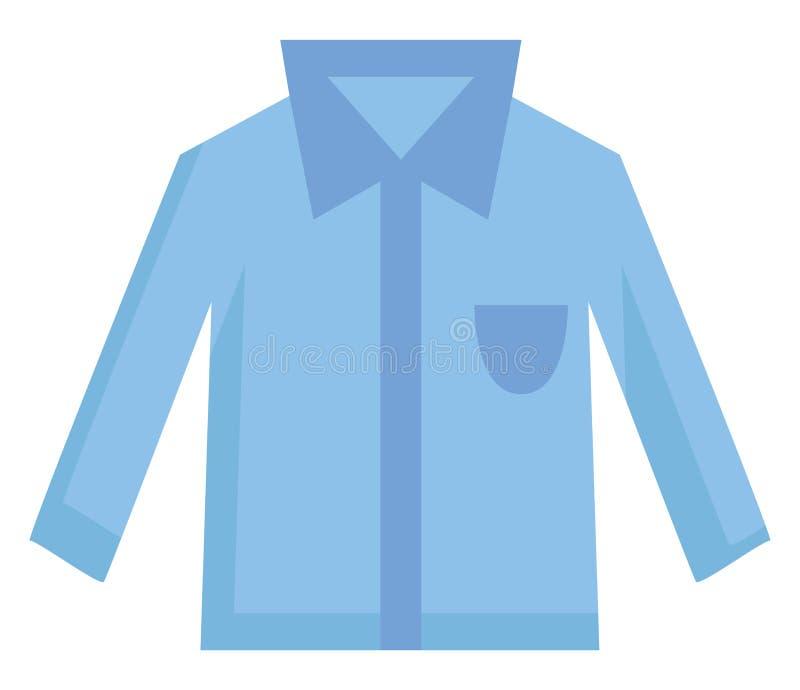 Prosta jasnoniebieska koszula z niebieską kieszonką i ilustracją wektora kołnierza ilustracji