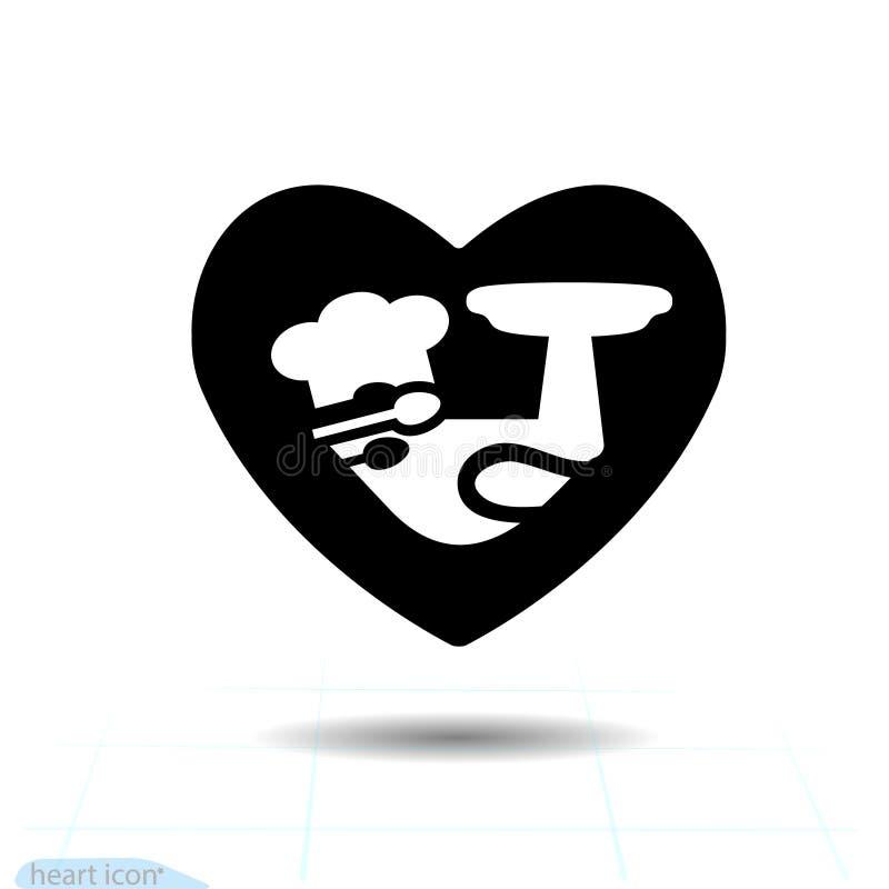 Prosta Kierowa czarna ikona, miłość symbol Cook w sercu Walentynki podpisują, emblemat, Dla projekta, logo płaski symbol piktogra ilustracji
