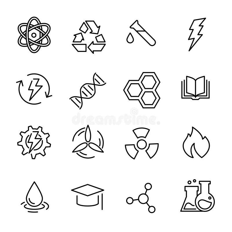 Prosta kolekcja chemie odnosić sie kreskowe ikony ilustracji