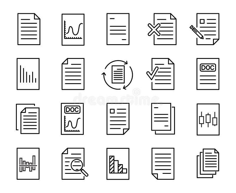 Prosta kolekcja dokument odnosić sie kreskowe ikony ilustracji