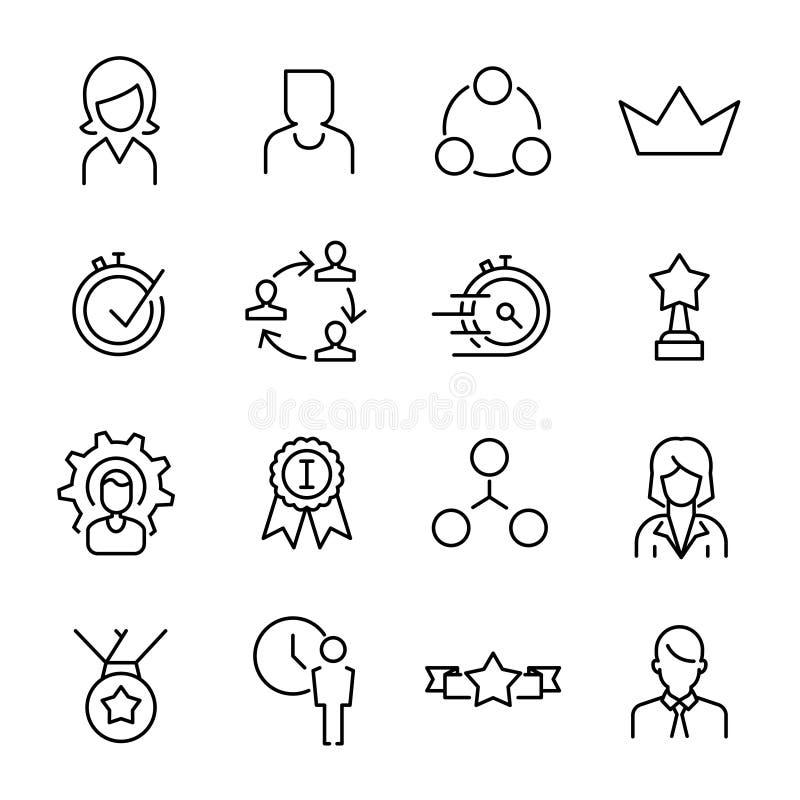 Prosta kolekcja kariery odnosić sie kreskowe ikony ilustracja wektor