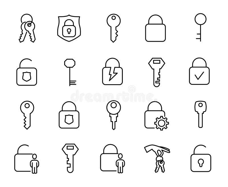 Prosta kolekcja klucze i kędziorek odnosić sie kreskowe ikony ilustracja wektor