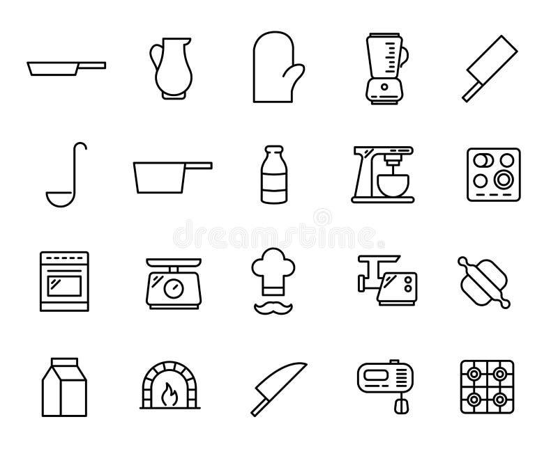 Prosta kolekcja kucharstwo odnosić sie kreskowe ikony ilustracji