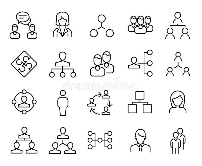 Prosta kolekcja pracy zespołowe odnosić sie kreskowe ikony ilustracji