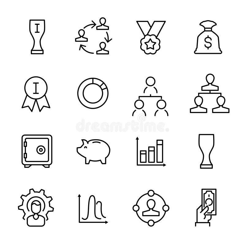 Prosta kolekcja przedsiębiorczość odnosić sie kreskowe ikony royalty ilustracja