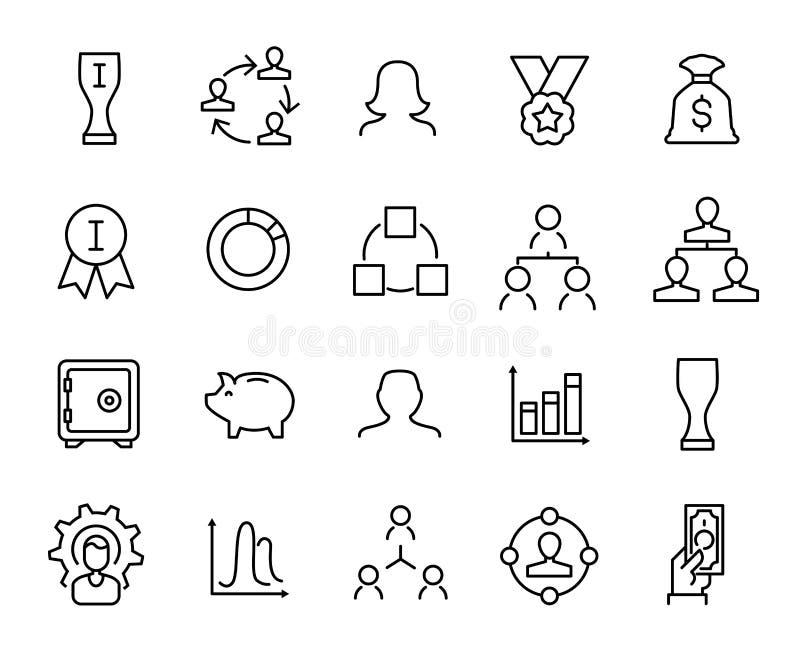 Prosta kolekcja przedsiębiorczość odnosić sie kreskowe ikony ilustracja wektor