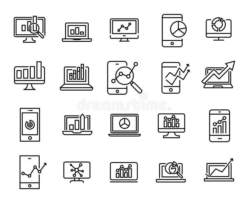 Prosta kolekcja sieci analityka odnosić sie kreskowe ikony ilustracji