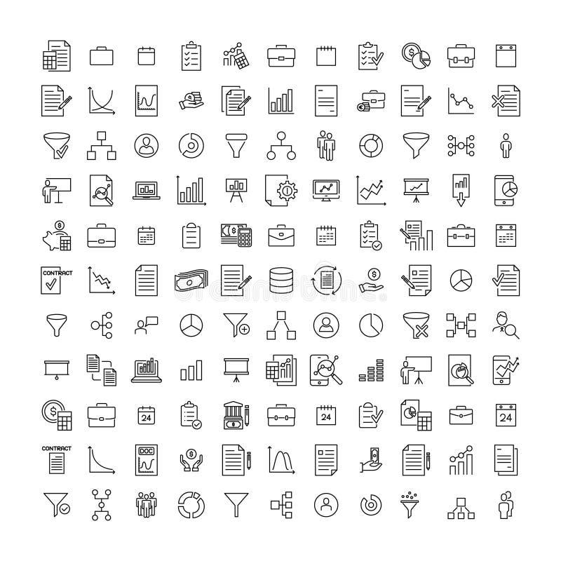 Prosta kolekcja strategie odnosić sie kreskowe ikony ilustracji