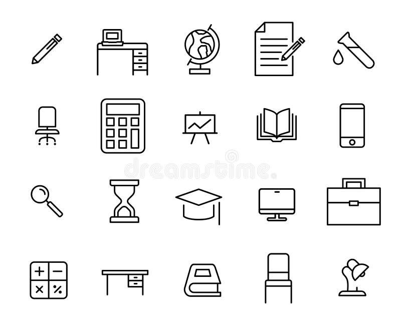 Prosta kolekcja szkolni akcesoria odnosić sie kreskowe ikony royalty ilustracja